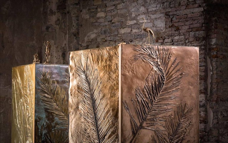 'Tropical Fossil III' Monumental Bronze and Brass Screen by Gianluca Pacchioni For Sale 1