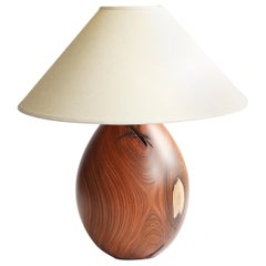 Tropical Hardwood Lamp and White Linen Shade, Medium, Árbol Collection, 27