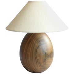 Tropical Hardwood Lamp with White Linen Shade Small Medium, Árbol Collection, 22