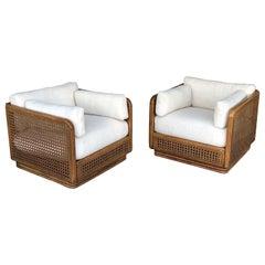 Tropical Modern Square Cane Club Lounge Swivel Chairs