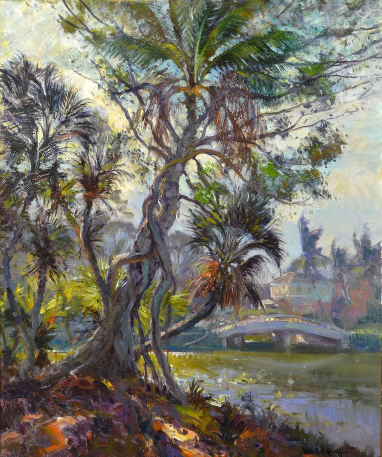 'Tropical Naples View' By Robert C. Gruppe, American b. 1944. Measures: 30 x 36 inches with frame, 42 x 48 inches including frame. Oil on canvas, signed. Housed in a custom-made vintage frame.  Robert Charles Gruppe: Being third generation of