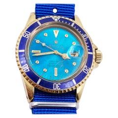 Tropical Nipple Dial Vintage Rolex Submariner 1680 Blue 18 Karat Gold Rare