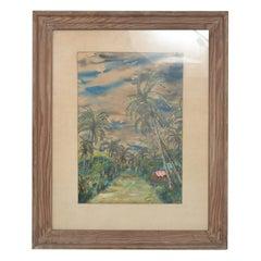 Tropical Paradise Hawaii 1953 Art Painting N. KATZ