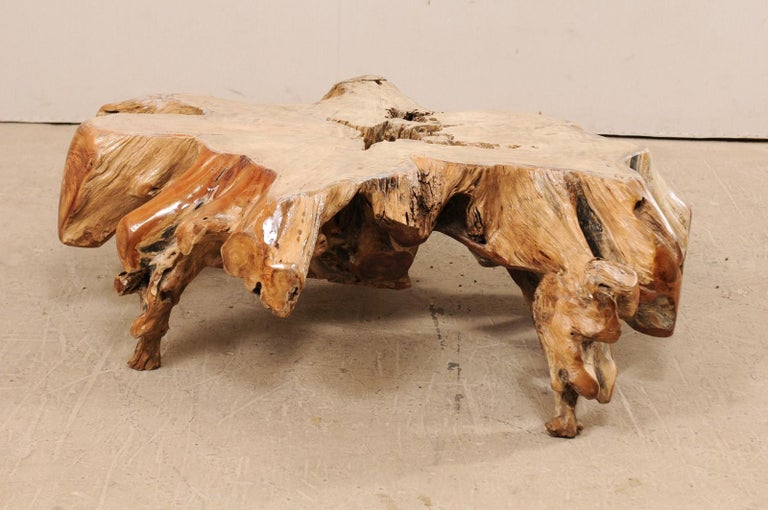 Carved An Organically-Shaped Tropical Teak Stump & Root Hardwood Coffee Table For Sale