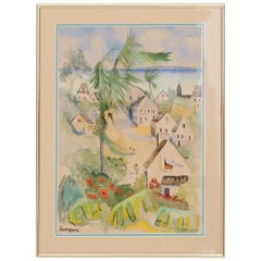 Tropical Watercolor on Paper by Lucien Genin