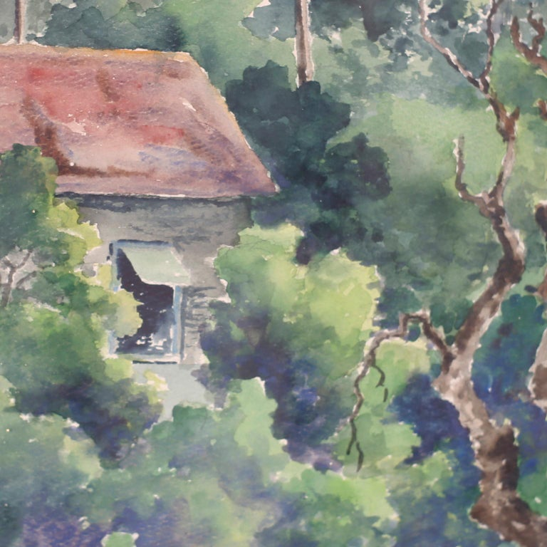 Hand-Painted Tropical Watercolor on Paper of a Jamaican Scene For Sale