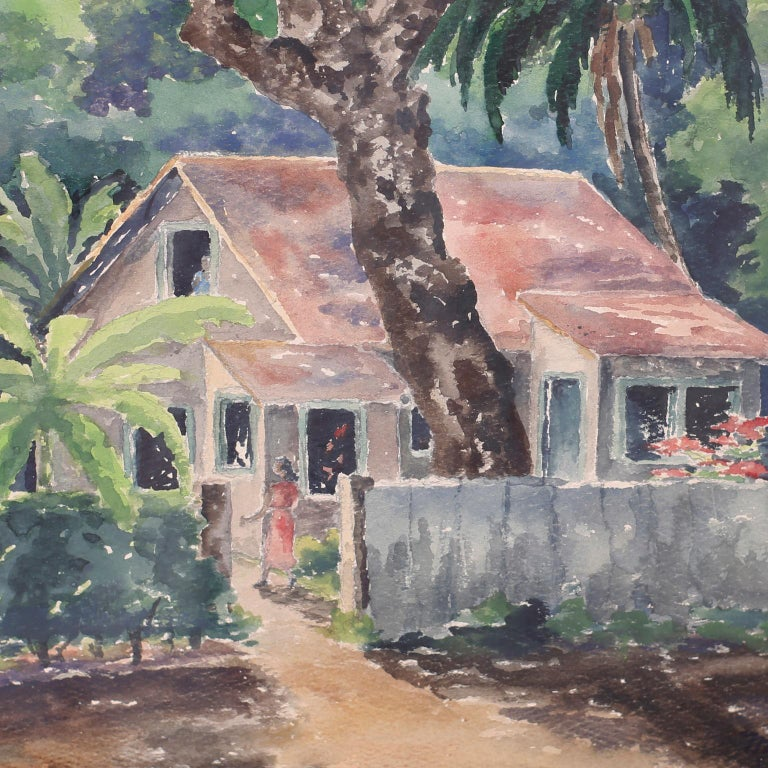 Tropical Watercolor on Paper of a Jamaican Scene In Good Condition For Sale In Palm Beach, FL