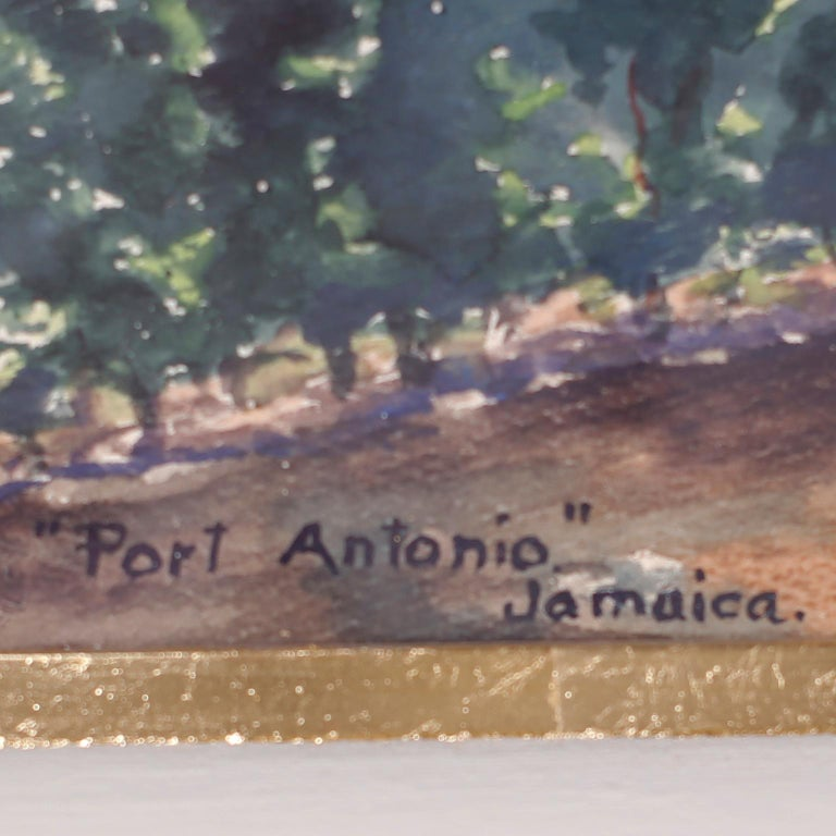 20th Century Tropical Watercolor on Paper of a Jamaican Scene For Sale