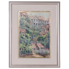 Tropical Watercolor on Paper of a Jamaican Scene