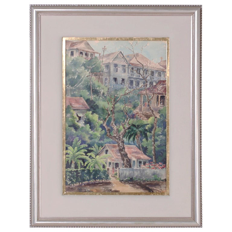 Tropical Watercolor on Paper of a Jamaican Scene For Sale