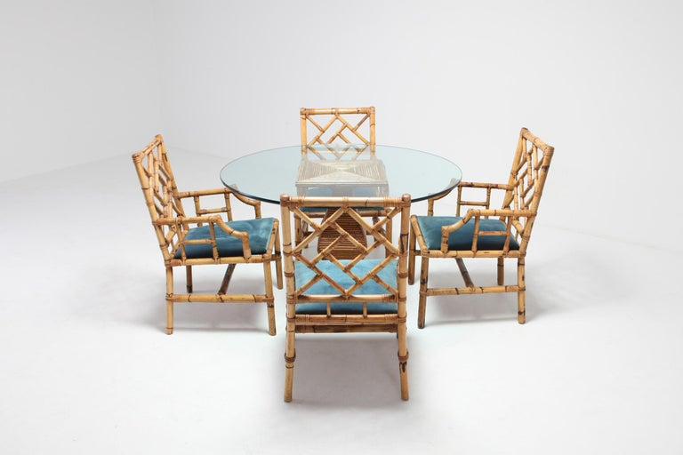 Gabriella Crespi style dining suite in bamboo by Vivai del Sud, Italy, 1970s. Great Italian glam piece that fits well in an eclectic Hollywood regency interior.  The listing includes four chairs and one round dining table by Vival del Sud. We've
