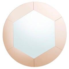 Tropicana Small Hexagon Mirror with Pink Frame by Matteo Zorzenoni
