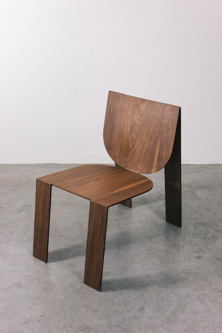 Tropos Chair, CONTEMPORARY WOOD SHEET AND METAL CHAIR In New Condition For Sale In Belo Horizonte, Minas Gerais