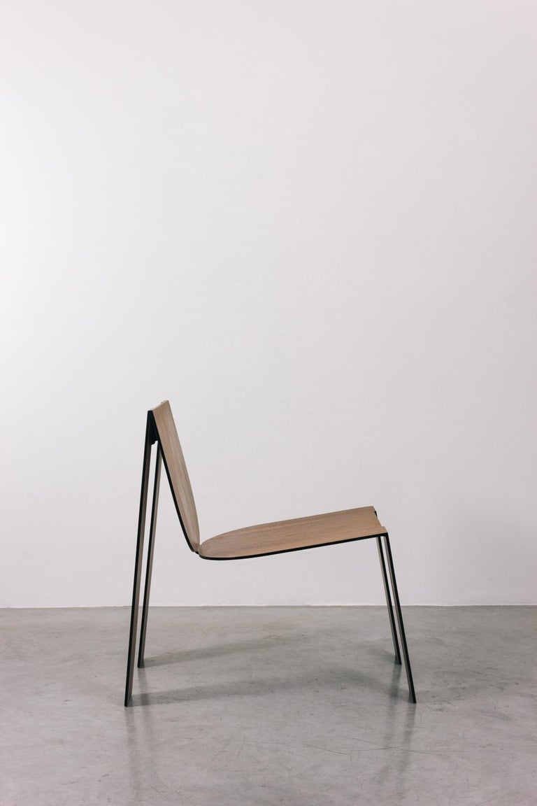 Minimalist Tropos Chair, CONTEMPORARY WOOD SHEET AND METAL CHAIR For Sale