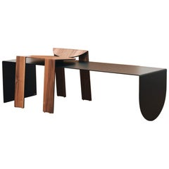 Tropos Duo, CONTEMPORARY WOOD SHEET AND METAL STOOL + BENCH