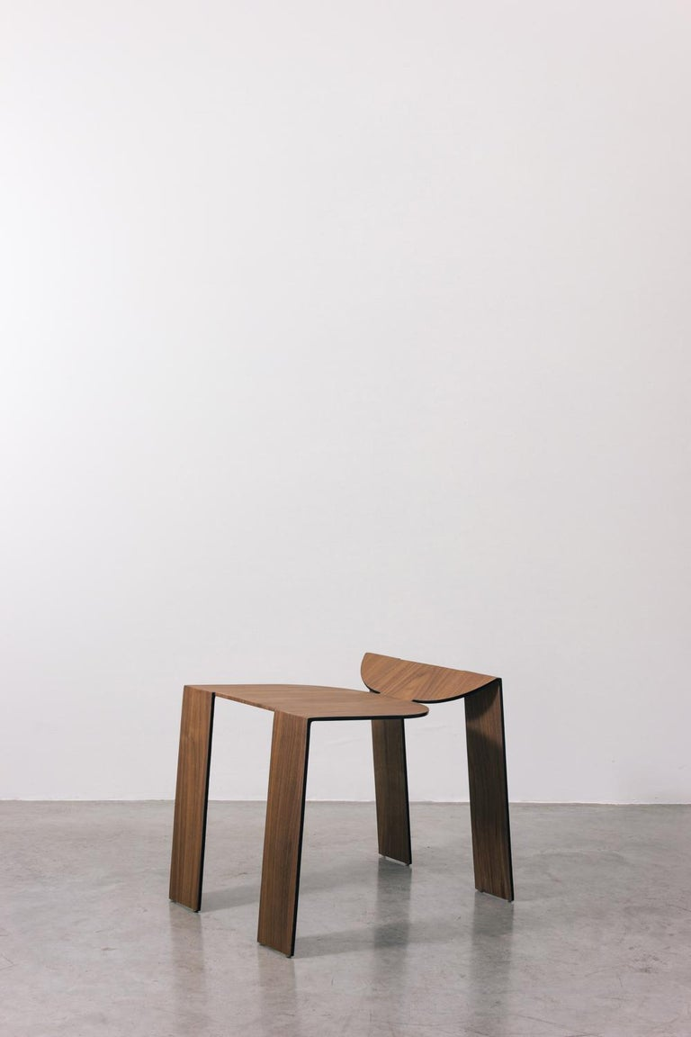 Tropos Stool, CONTEMPORARY WOOD SHEET AND METAL STOOL For Sale 1
