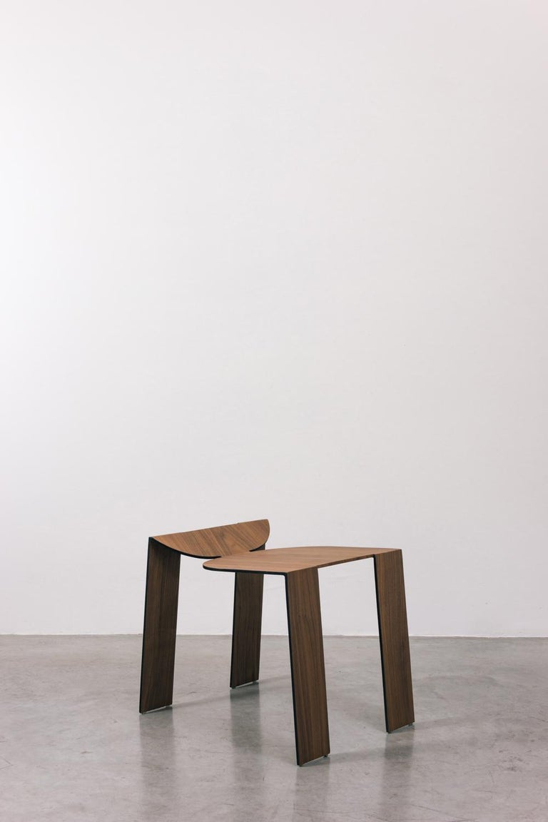 Tropos Stool, CONTEMPORARY WOOD SHEET AND METAL STOOL For Sale 2