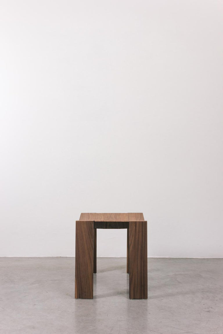 Tropos Stool, CONTEMPORARY WOOD SHEET AND METAL STOOL In New Condition For Sale In Belo Horizonte, Minas Gerais