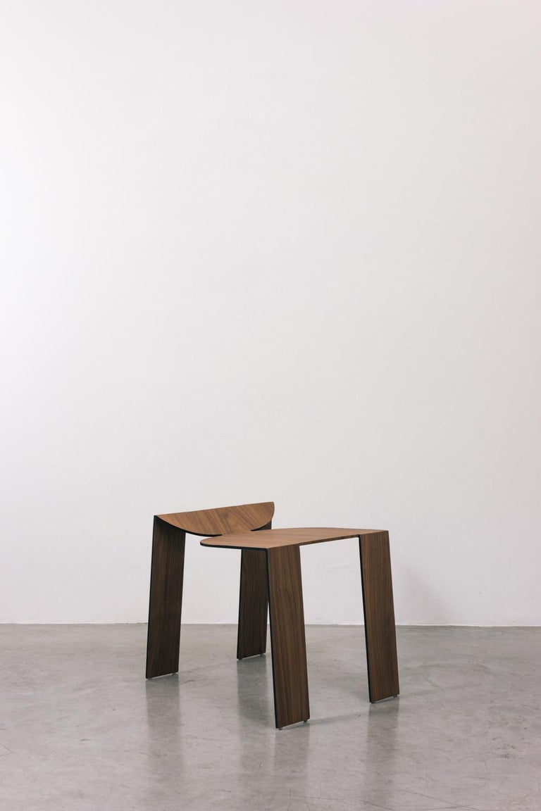 Tropos Stool, CONTEMPORARY WOOD SHEET AND METAL STOOL For Sale 3