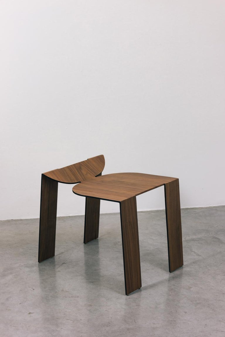 Tropos Stool, CONTEMPORARY WOOD SHEET AND METAL STOOL For Sale 4