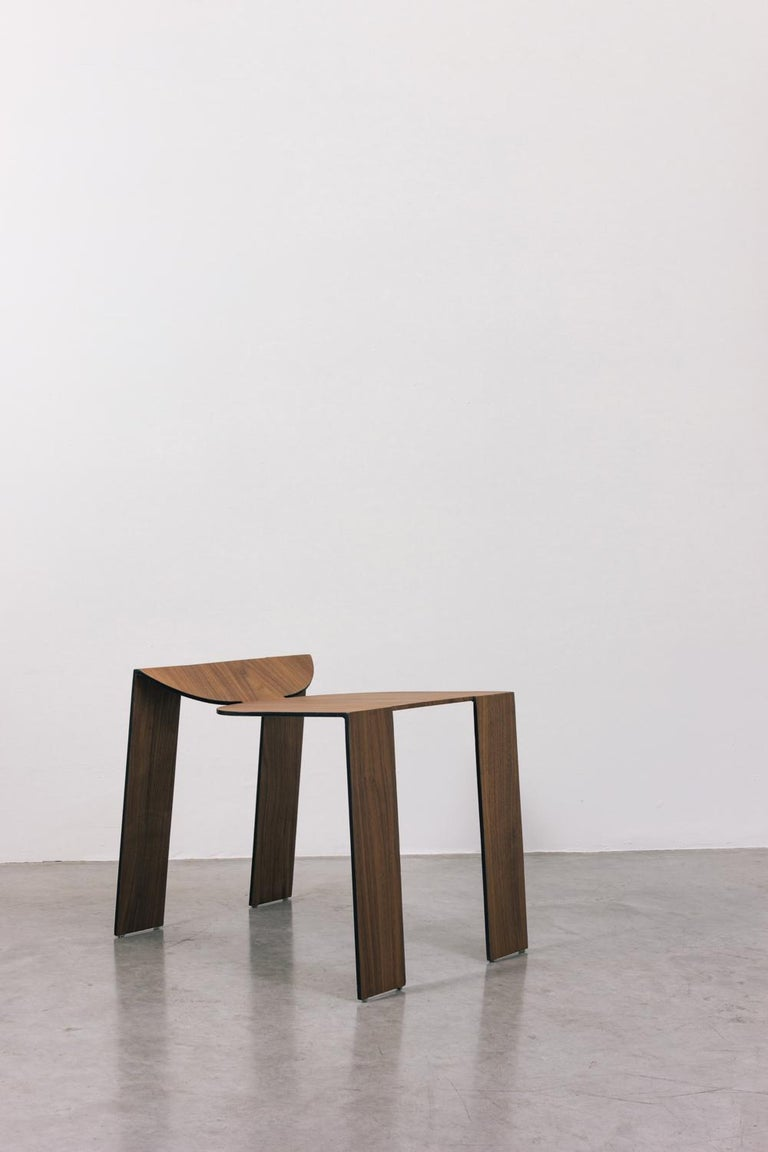 Tropos Stool, CONTEMPORARY WOOD SHEET AND METAL STOOL For Sale 5