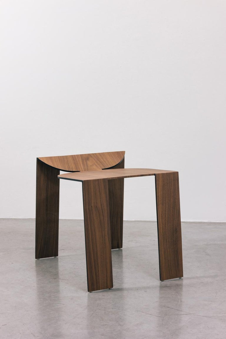 Tropos Stool, CONTEMPORARY WOOD SHEET AND METAL STOOL For Sale 6