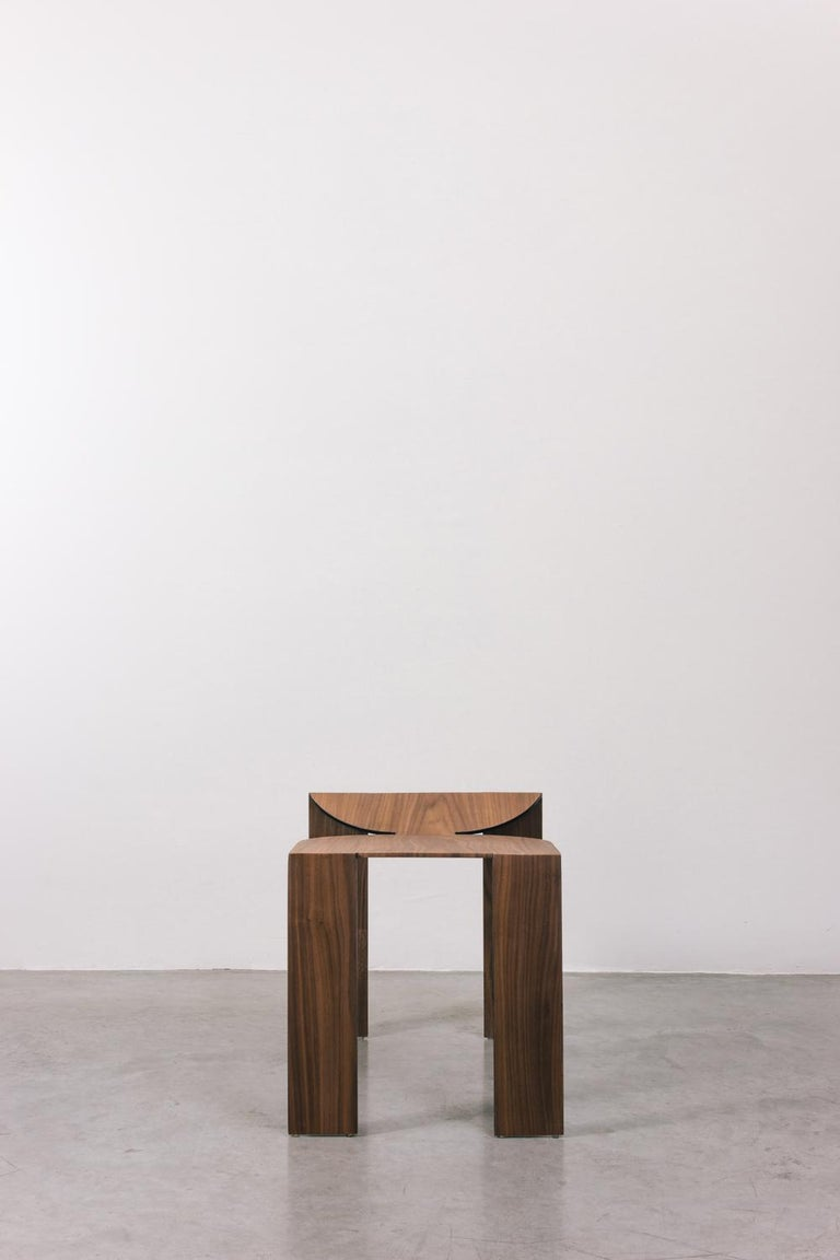 Brazilian Tropos Stool, CONTEMPORARY WOOD SHEET AND METAL STOOL For Sale
