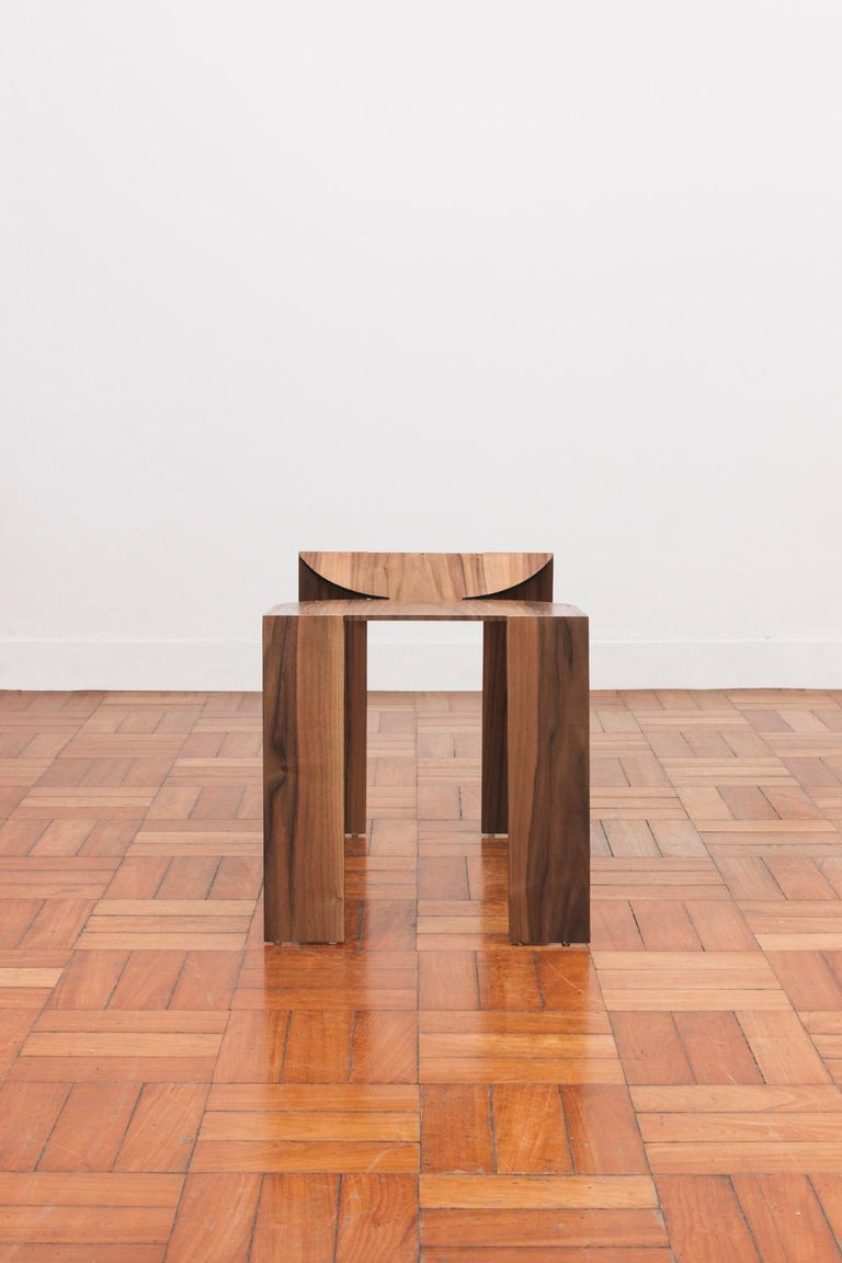 Minimalist Tropos Stool, CONTEMPORARY WOOD SHEET AND METAL STOOL For Sale