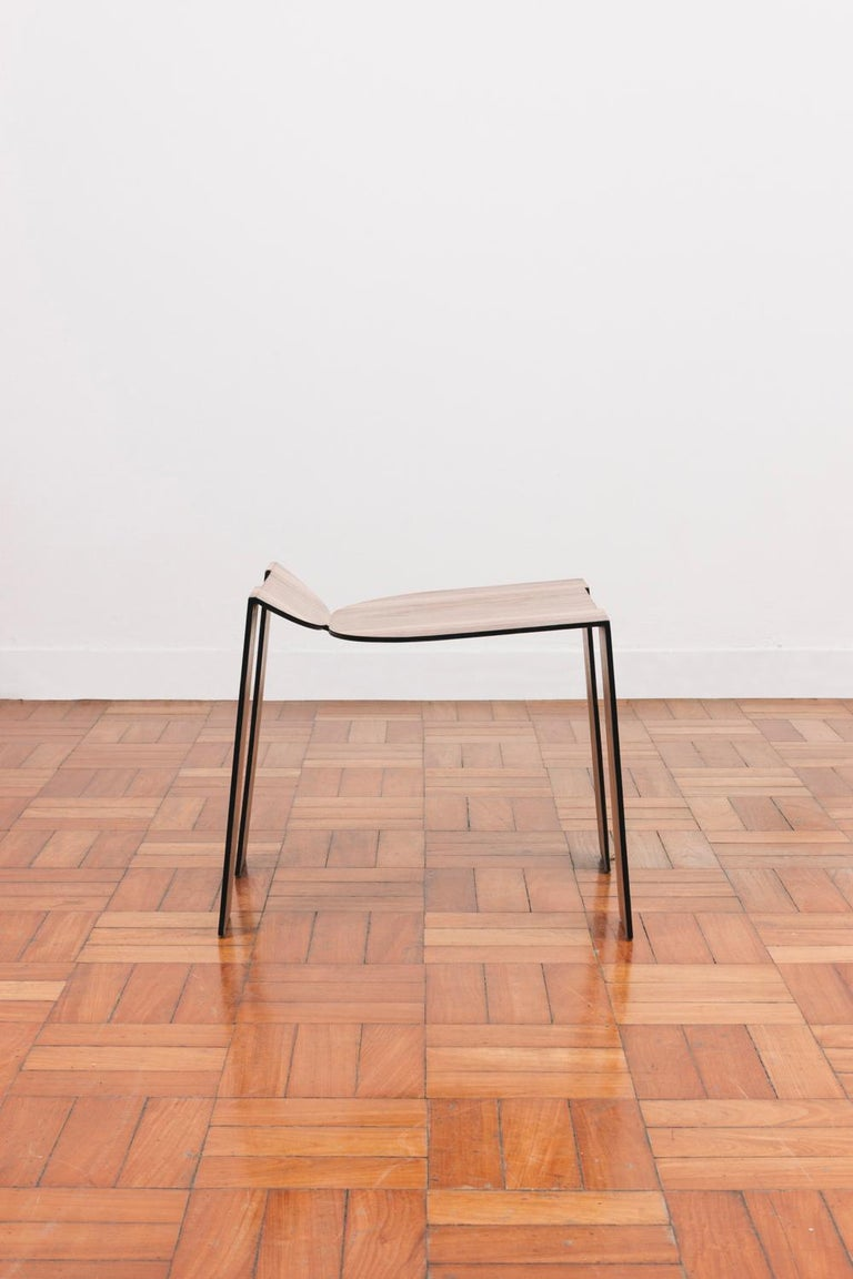 Laminated Tropos Stool, CONTEMPORARY WOOD SHEET AND METAL STOOL For Sale