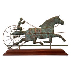 Trotting Horse with Sulky Copper Weathervane on Display