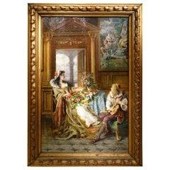 Troubadour Genre Painting Signed G. Castiglione