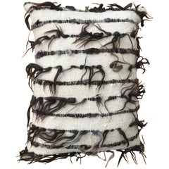 Black and White 'Trousseau' Handwoven Felted Organic Wool Pillow