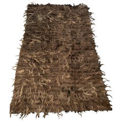Trousseau Handwoven Felted Natural Taupe Wool Rug