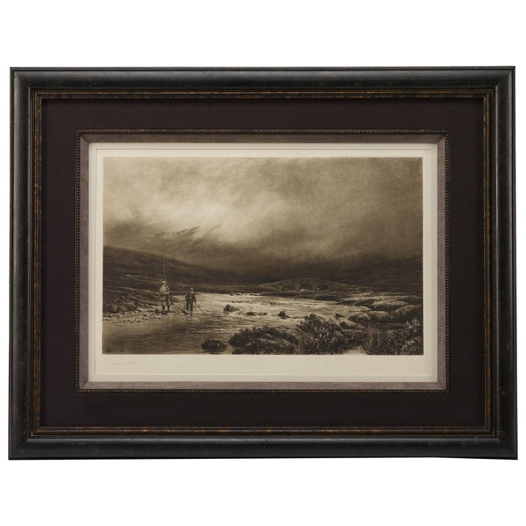 """""""Trout Fishing"""" by Douglas Adams, Signed Artist Proof, Antique Lithograph, 1893 For Sale"""