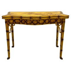 Trouvailles French Chinoiserie Faux Bamboo Game or Console Table