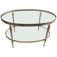 Trouvailles Steel and Brass Oval Cocktail Table