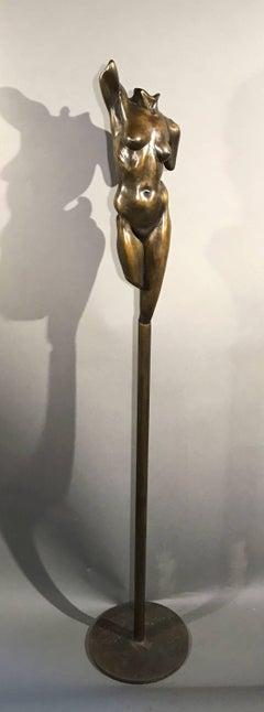 Athena, bronze female nude on column, brown patina