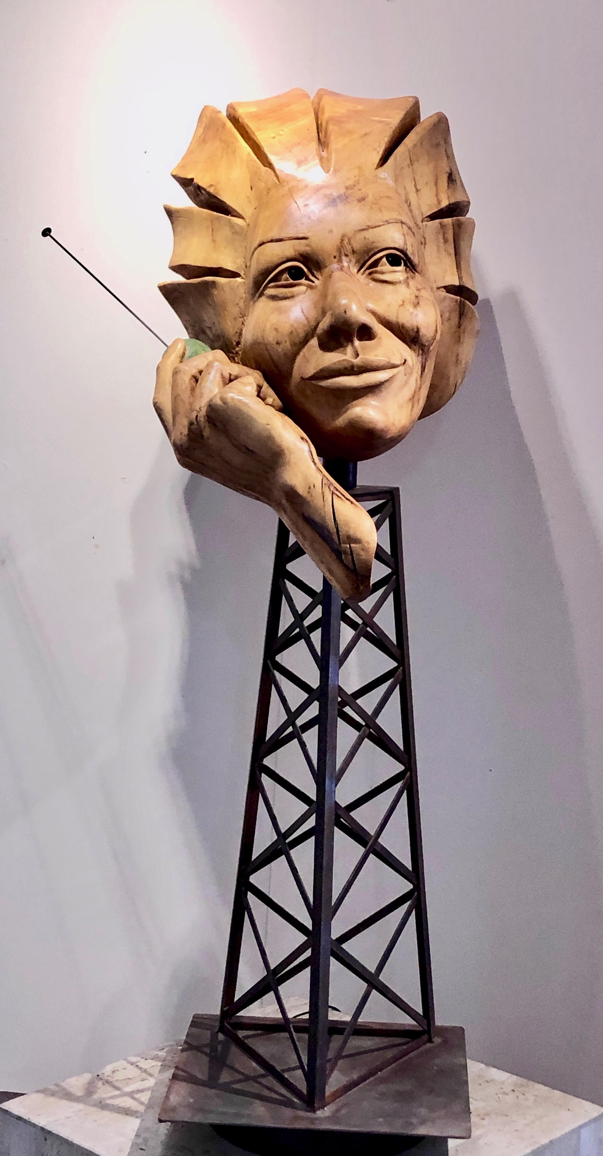 Disconnect, wood sculpture by Troy Williams, telephone, cell phone tower, steel