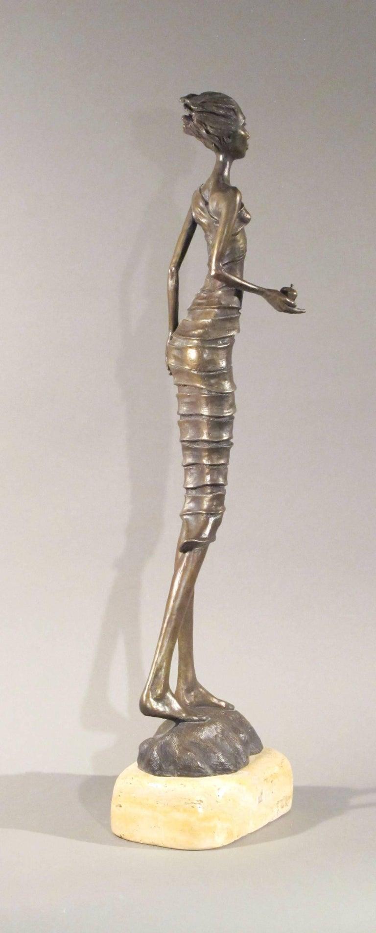 First Bite,female figure holding apple,garden of eden,bronze sculpture Williams For Sale 2