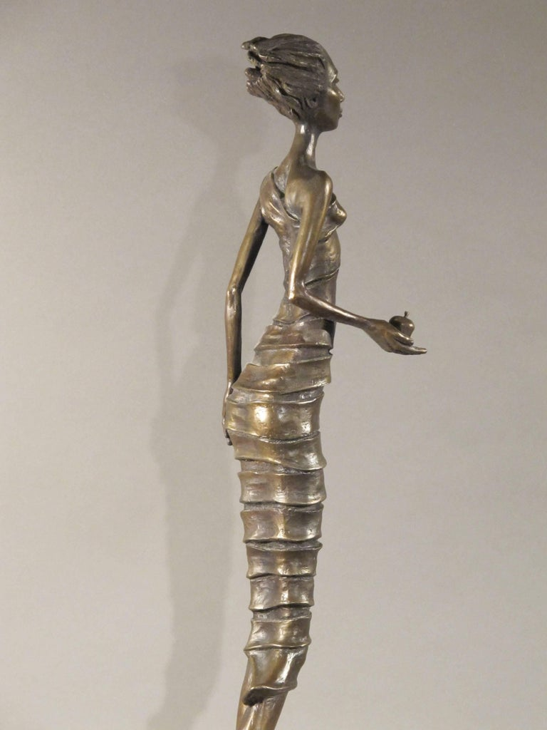 First Bite,female figure holding apple,garden of eden,bronze sculpture Williams For Sale 3