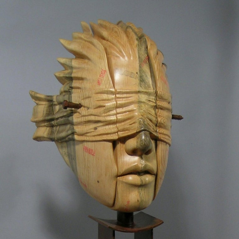 Guilt of Innocence (Postage Due Mr. Lee), wood and steel sculpture,Troy Williams - Brown Figurative Sculpture by Troy Williams