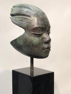 Listening, bronze sculpture, childs portrait, black granite base, green patina