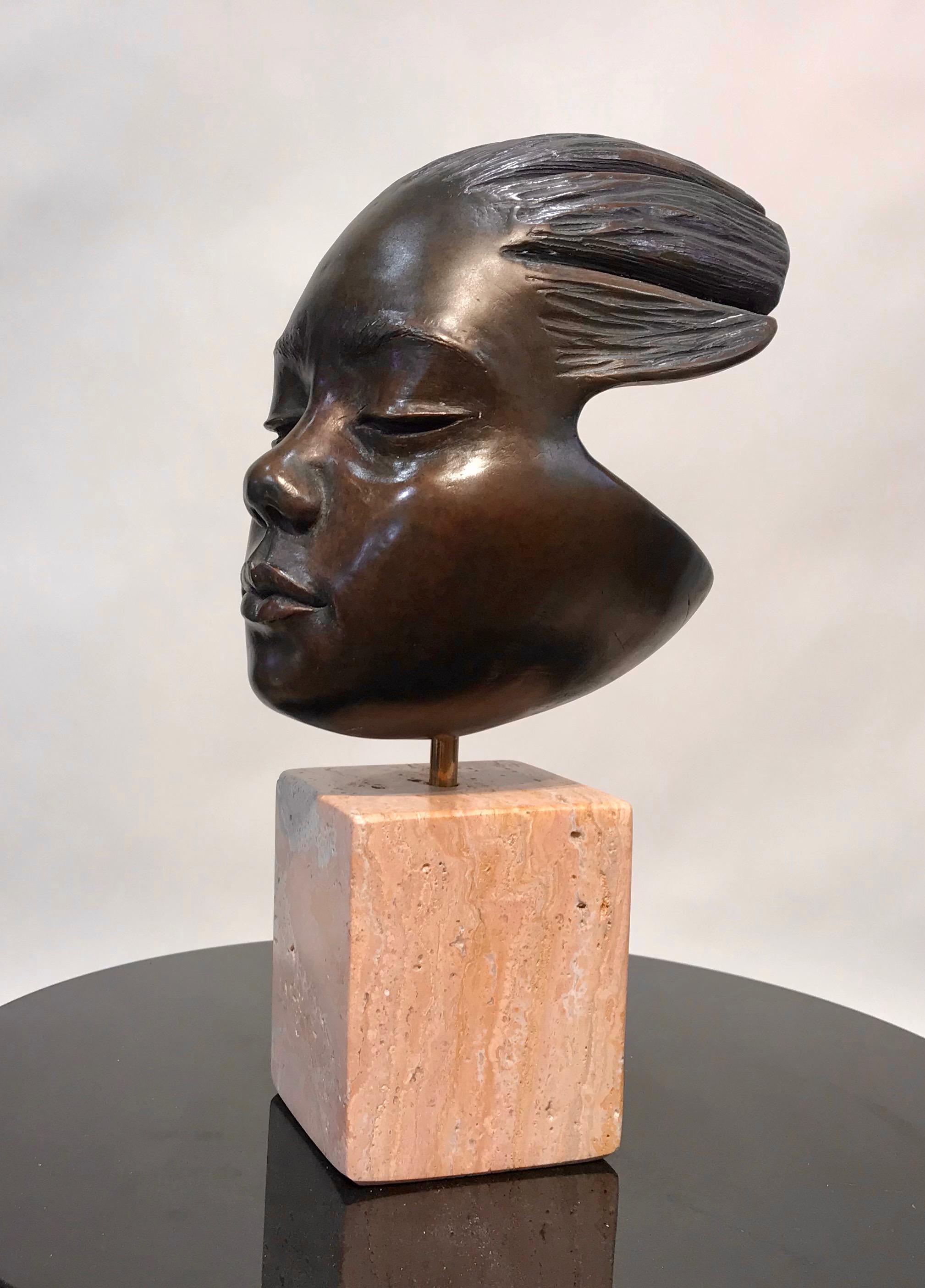 Listening, bronze sculpture, portrait of child, travertine base, contemporary