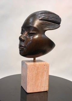 Listening, bronze sculpture, portrait of child, travertine base, contemporary