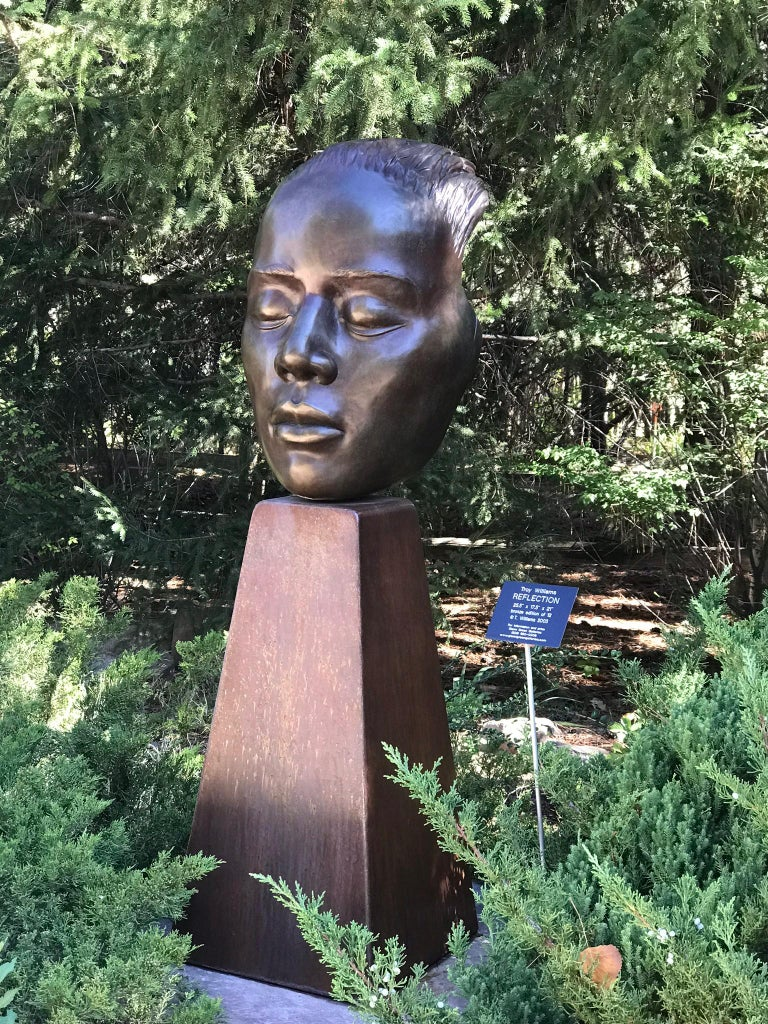 Reflections, bronze female bust sculpture contemplative peaceful Troy Williams For Sale 3