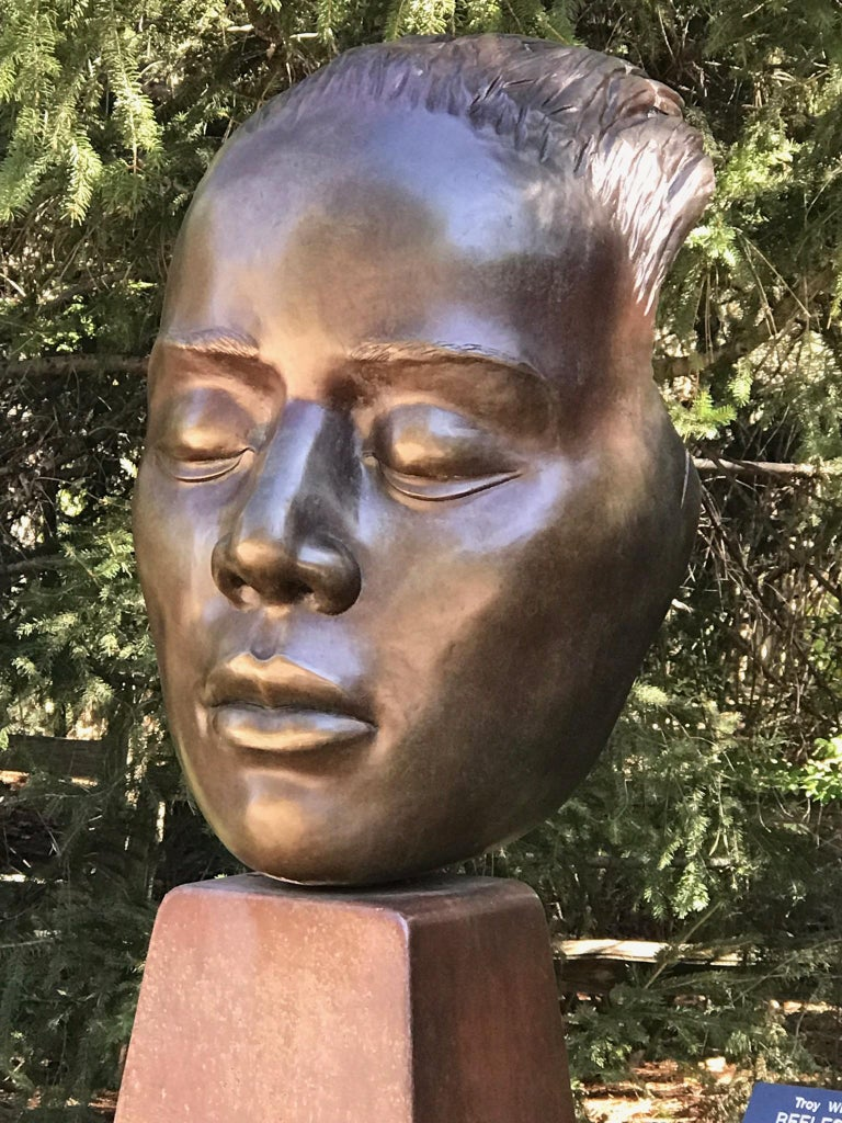 Reflections, bronze female bust sculpture contemplative peaceful Troy Williams For Sale 4