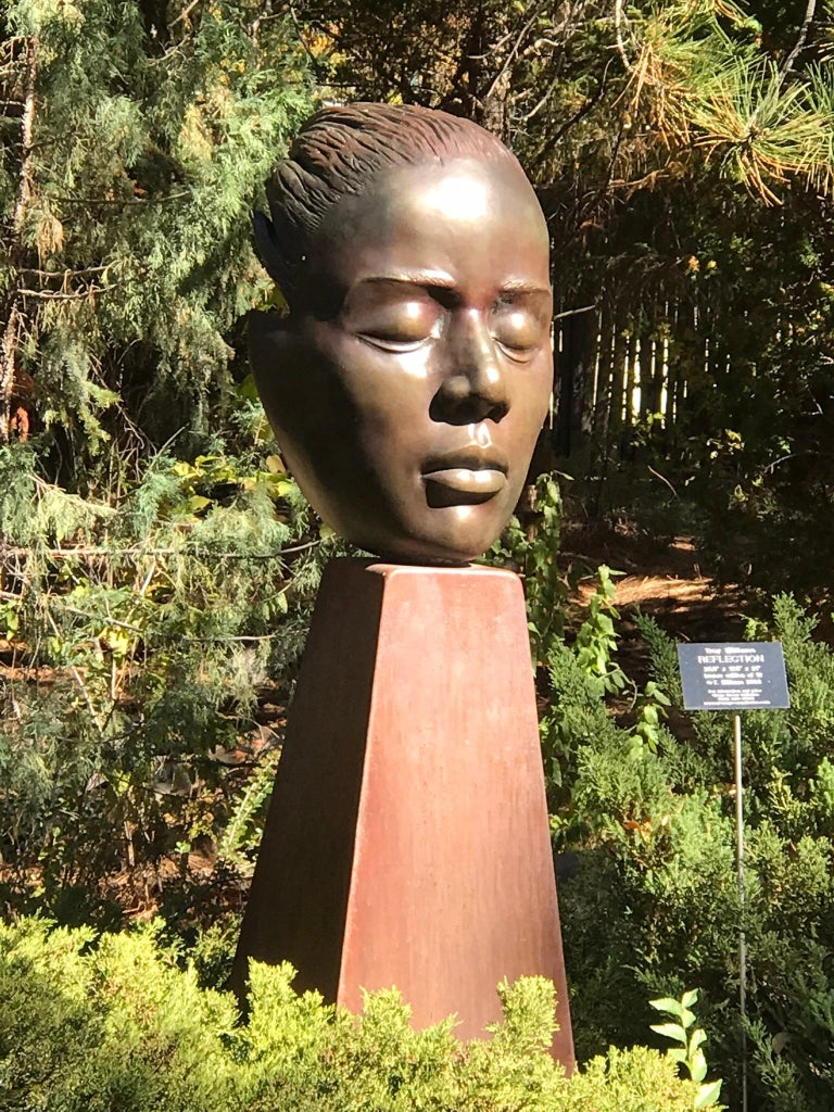 Reflections, bronze female bust sculpture contemplative peaceful Troy Williams For Sale 5
