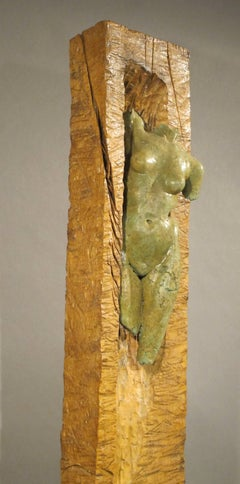 Rustic Athena, cottonwood concrete female nude mixed media sculpture pale green