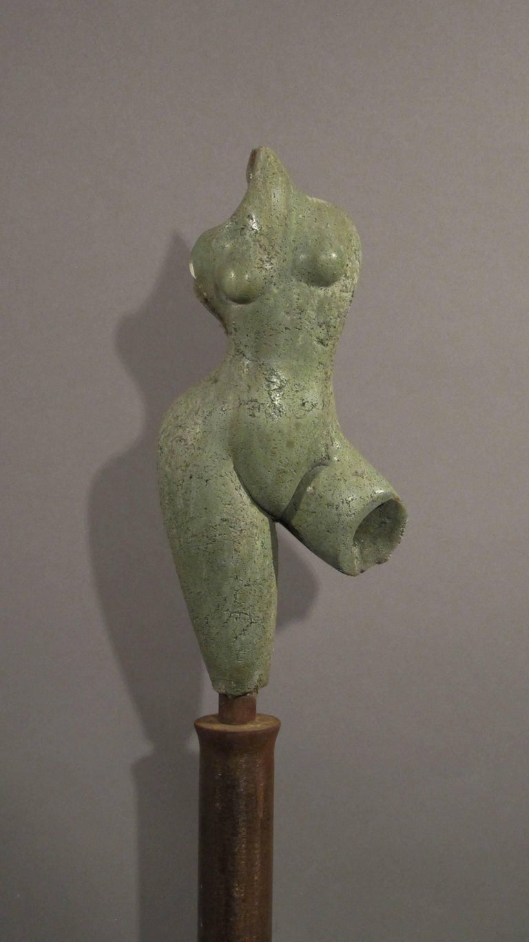 Sunrise, green concrete female nude form on steel column - Contemporary Mixed Media Art by Troy Williams