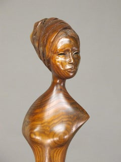 Welcome, nut wood sculpture steel base female nude brown, Troy Williams